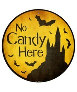 """Halloween No Candy Here Metal Circle Sign 12"""" Wall Decor - DS - $23.95"""