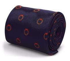 Navy Mens Tie with Wreath Design by Frederick Thomas FT3317