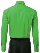 Berlioni Italy Men's Green Premium  Standard Cuff Dress Shirt W/ Defect 2XL image 3