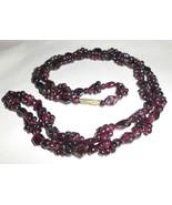 GARNET Necklace 28-Inch Gemstone Cluster Nugget Beaded 63 grams Dark Win... - $74.24