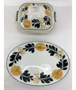Staffordshire England Sunflower Casserole Baking Dish With Lid and Servi... - $197.99