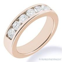 Round Cut Forever Brilliant Moissanite 14k Rose Gold 7-Stone Band Weddin... - €565,44 EUR+