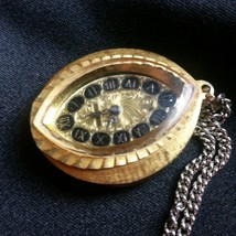 Vintage Heritage Necklace Watch Pendant Pocket Watch Art Deco Style Cat Eye - $17.59