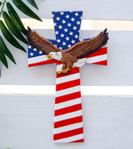 Patriotic USA American Flag With Soaring Bald Eagle Wall Cross Decor Plaque - $31.99