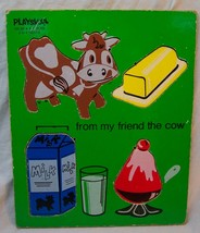 VINTAGE PLAYSKOOL FROM MY FRIEND THE COW 4 Piece WOODEN FRAME TRAY PUZZL... - $14.85