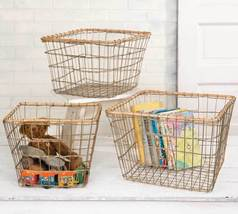 Set Of Three Rattan Rimmed Nesting Baskets - $60.00