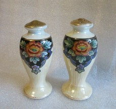 Antique ART DECO HP Salt Pepper Shakers NORITAKE Black w Yellow Orange L... - $24.70