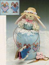 Easter Cross Stitch Bunny Notion Holder Ukrainian Needlepoint Egg Basket... - $8.99