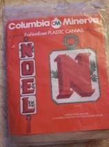 Vintage 80s Columbia Minerva Plastic Canvas Joyous Noel Banner Needlepoint 8487 - $12.38