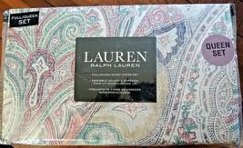 NWT RALPH LAUREN GREEN BLUE RED TAN QUEEN FULL DUVET PAISLEY COVER SET - $91.58