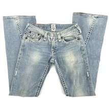 Size 28 True Religion Women Light Wash Distressed Flare Bootcut Denim Je... - $39.59