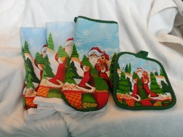 Christmas Santa kitchen set - pot holder, oven mit and 2 kitchen towels - $8.50