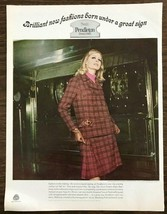 1967 Pendlton City Country Clothes Print Ad Tweed Plaid Walking Suit Wool - $12.69