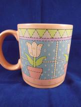 Vintage Russ Berrie Mug Cup Pink Tulip Patchwork  Korea - $8.90