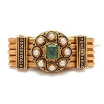 Antique 19th Century French Victorian 18K Gold Spinel & Cultured Pearl B... - $750.00