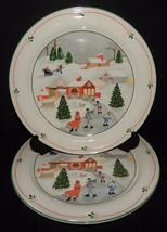 2 Sango Silent Night Dinner Plates Joan Luntz Holiday Christmas Ice Skater  - $32.65