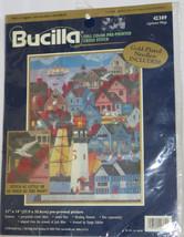 "Lighthouse Village Pre-Printed Cross Stitch Kit Bucilla NOS Retired 11"" x 14"" - $21.77"