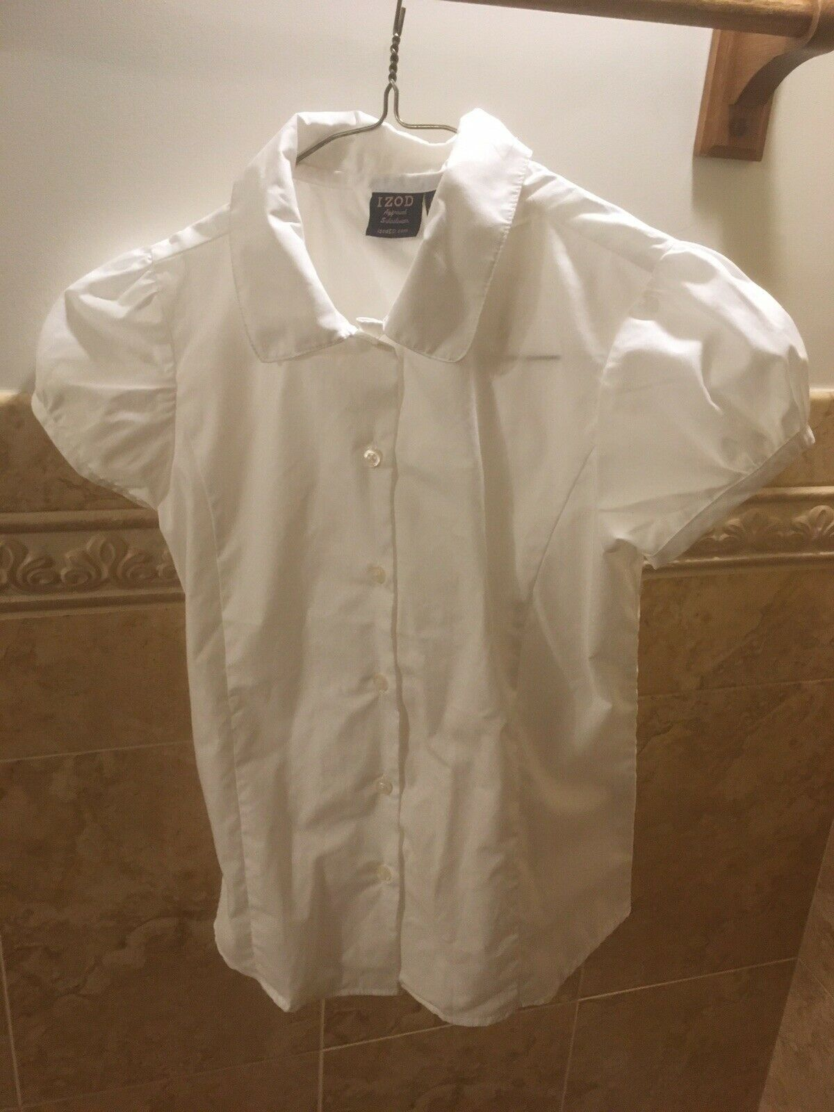 Primary image for NWOT Izod Approved Schoolwear Uniform White SS Button Down Shirt Girls Large 10