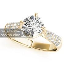1.34 Cttw White Sim Diamond 10k Yellow Gold Over 925 Engagement Ring - $47.11