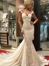 Illusion Cap Sleeve Sweetheart Lace Mermaid Wedding Dress With Train - $250.00