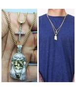 Mens Gold Mini Micro Jesus Piece And Cross Pendant Combo Set Necklace Chain - £22.71 GBP