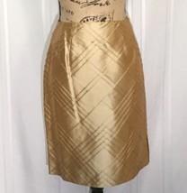 Talbots Petites 4P Pure Silk Pencil Skirt w Cross Pleat Pattern Hidden Zip Gold - $28.99