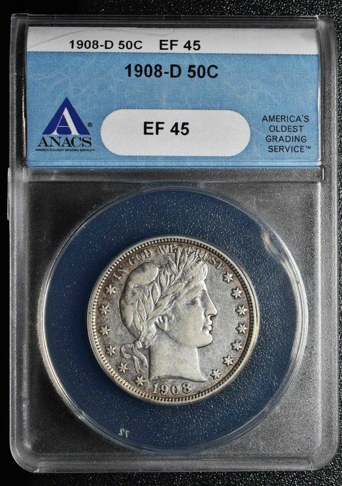 1908D Silver Barber Half Dollar 50¢ ANACS XF45 EF45 Coin Lot A622