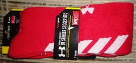 2 new pairs of under armour ua striker soccer otc socks M medium red - $20.00