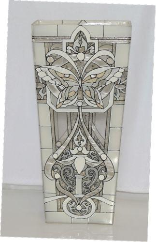 Joan Baker VAS2032 White Butterfly Hand Painted Art Glass Vase