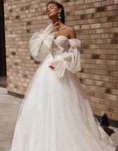 Off The Shoulder Princess Wedding Dresses- Sweetheart Puff Sleeve Beach ... - $449.00