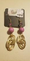 Paparazzi Earrings (New) #847 Purple Beads W/ Gold Chain - $7.61
