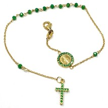 18K YELLOW GOLD ROSARY BRACELET, FACETED EMERALD ROOT, CROSS, MIRACULOUS MEDAL image 1
