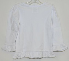 Blanks Boutique White Long Sleeve Girls Cotton Ruffle Shirt Size 18M image 2