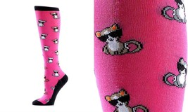 Yo Sox Women's Knee Sock - Cool Cats - Fits Size 6 -10 -Blend of Cotton & Nylon
