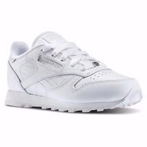 REEBOK CL CLASSIC LEATHER WHITE/WHITE J90140 PRESCHOOL KID SHOES - $39.95