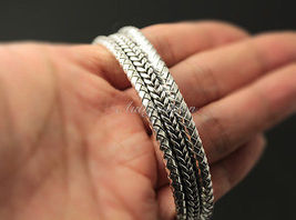 Mens Sterling Silver Bracelet Woven Braided Bangle Cuff Handcrafted Hip Hop b22 image 4