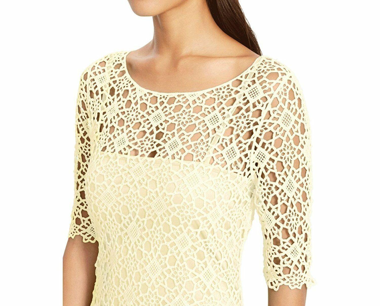 2554-2 Lauren Ralph Lauren Womens Crochet Elbow Sleeves Dress Yellow PS $174.00