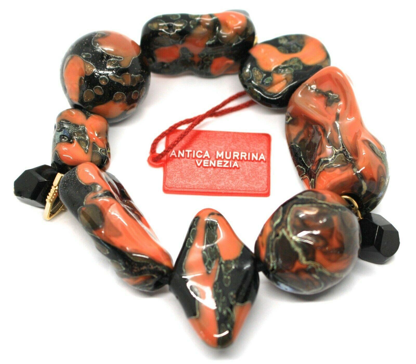 Bracelet Antica Murrina Venezia, Murano, Inserted Large, Red Black, Elastic