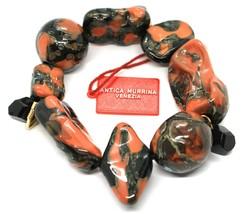 Bracelet Antica Murrina Venezia, Murano, Inserted Large, Red Black, Elastic image 1