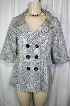 New Forever 21 Cream Gray Black Leopard Print Double Breasted Jacket No ... - $18.37