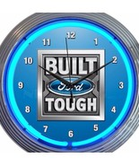 Build Ford Tough Neon Clock 15 Inch Office Game Room Garage Man Cave Blu... - $58.40