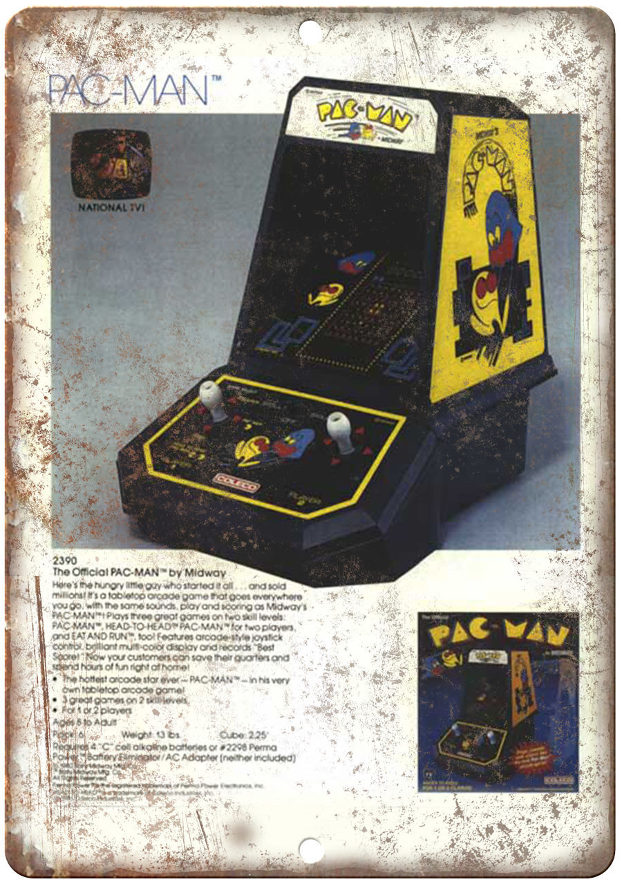 "1983 Coleco Mini-Arcade Pac-Man Gaming 10"" x 7"" Reproduction Metal Sign for sale  USA"