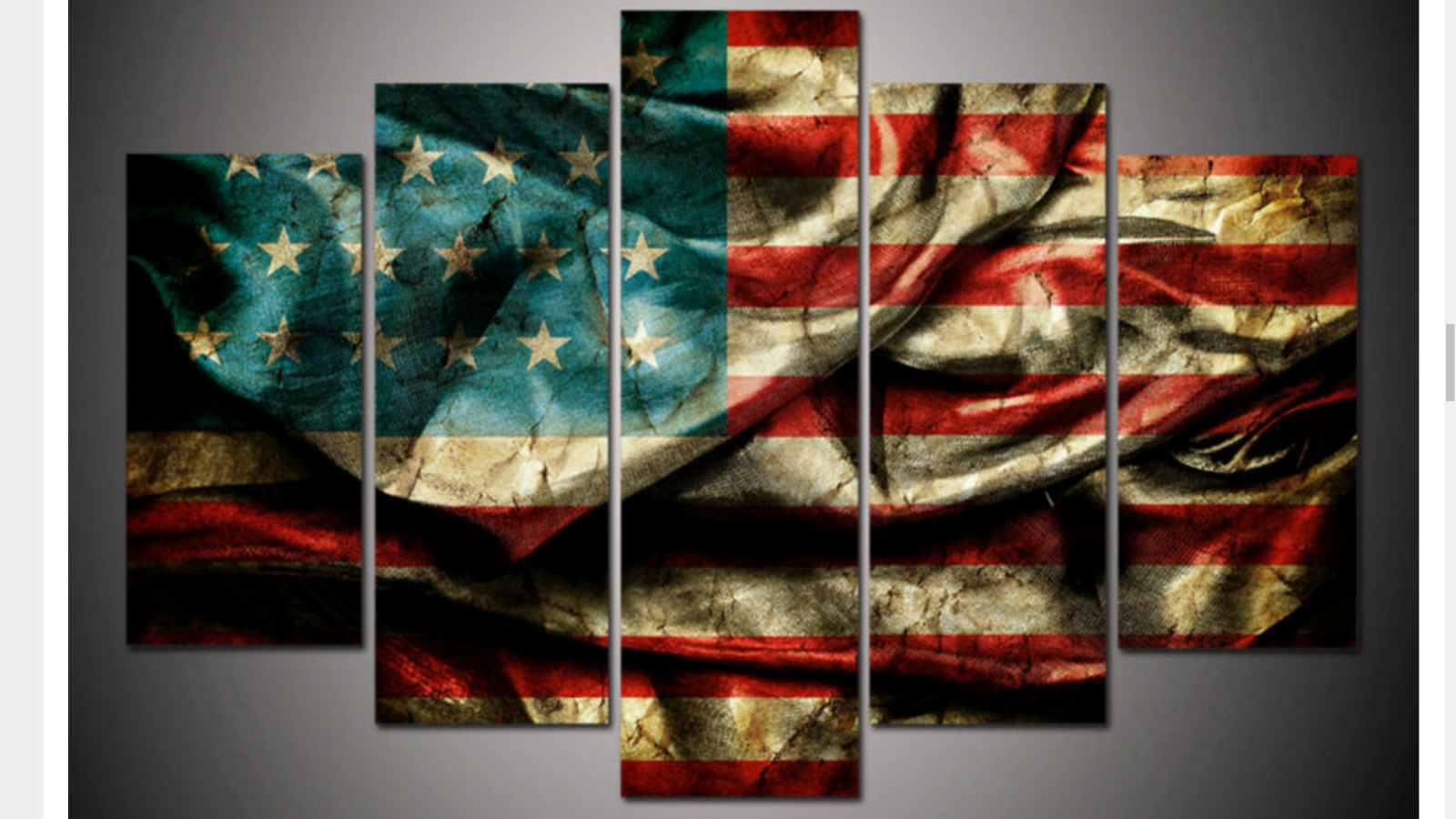 Canvas Wall Art Decor: Large Framed American Flag Canvas Print Five Piece Wall
