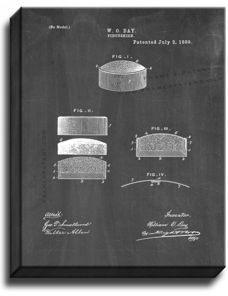 Primary image for Pin Cushion Patent Print Chalkboard on Canvas