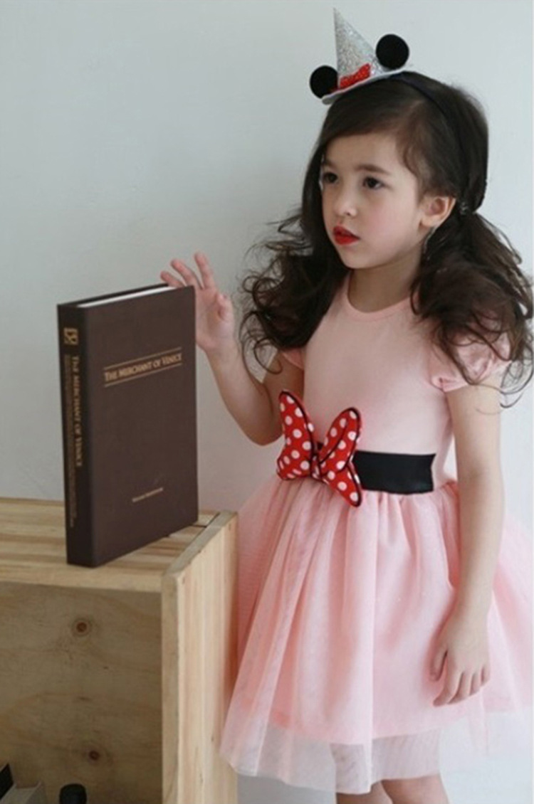 Pink tulle Wedding Flower Girl Dresses Caped Sleeve  Pageant Party Gowns Pricess