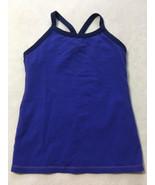 Lululemon 8 Blue Purple Racerback Shelf Bra Mesh Back Stripe Workout Tan... - $21.99