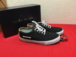 Polo Ralph Lauren Vance Side Lace Sneakers Canvas Leather Black 10.5 D M... - $50.00