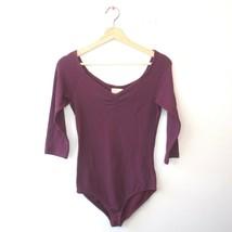 M - Paloma Wool Purple V-Neck Alejandro 3/4 Sleeve Jersey Knit Bodysuit ... - $60.00