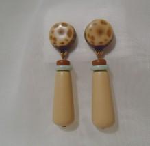Avon Vintage Indian Summer Drop Beige, Tan, Mint Earrings - $12.99