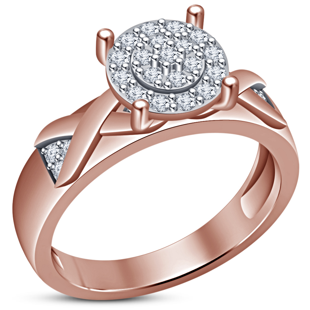 14k Rose Gold Finish Round Cut Diamond Engagement Ring Wedding Band Bridal Set